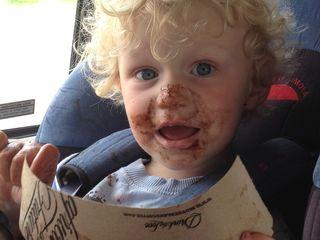 James Peter Janisch with chocolate